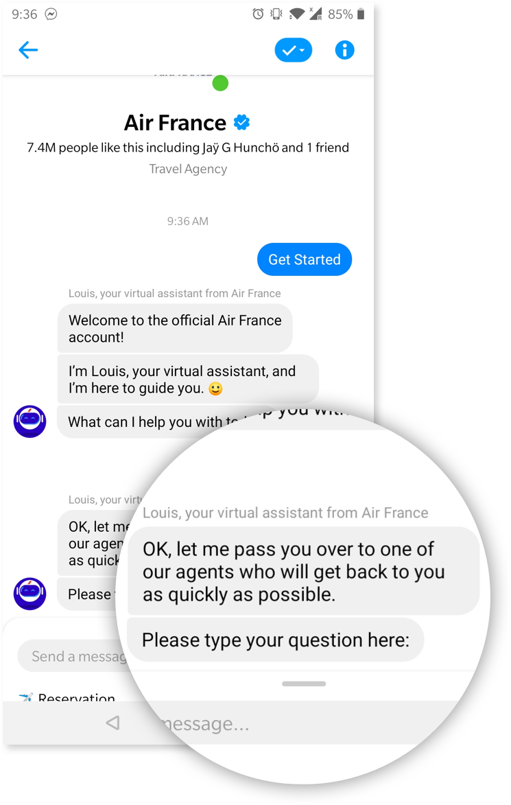 Another screenshot of a chatbot giving the user the option to chat with a human instead of a bot