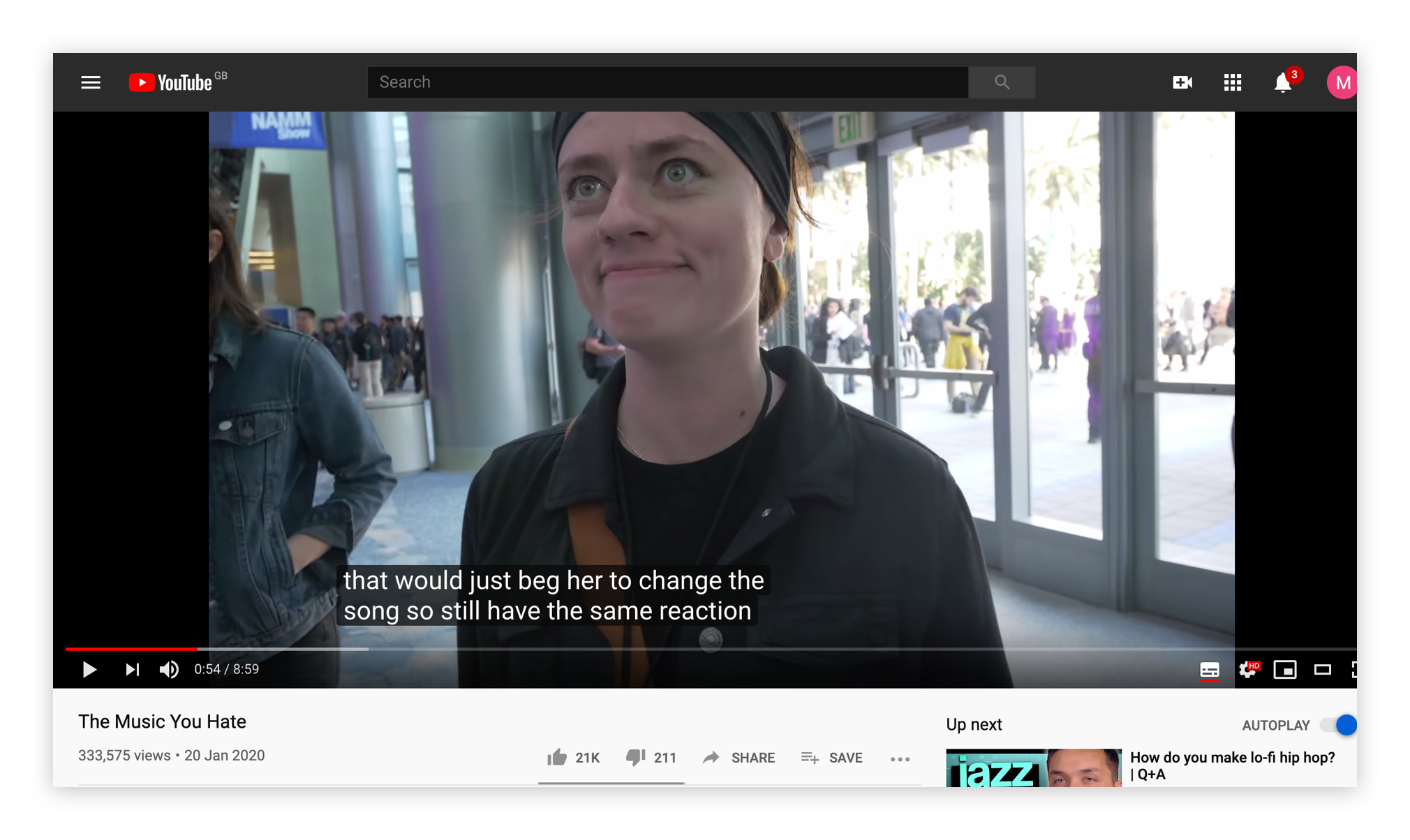 A screenshot from YouTube showing the automatic captioning feature.