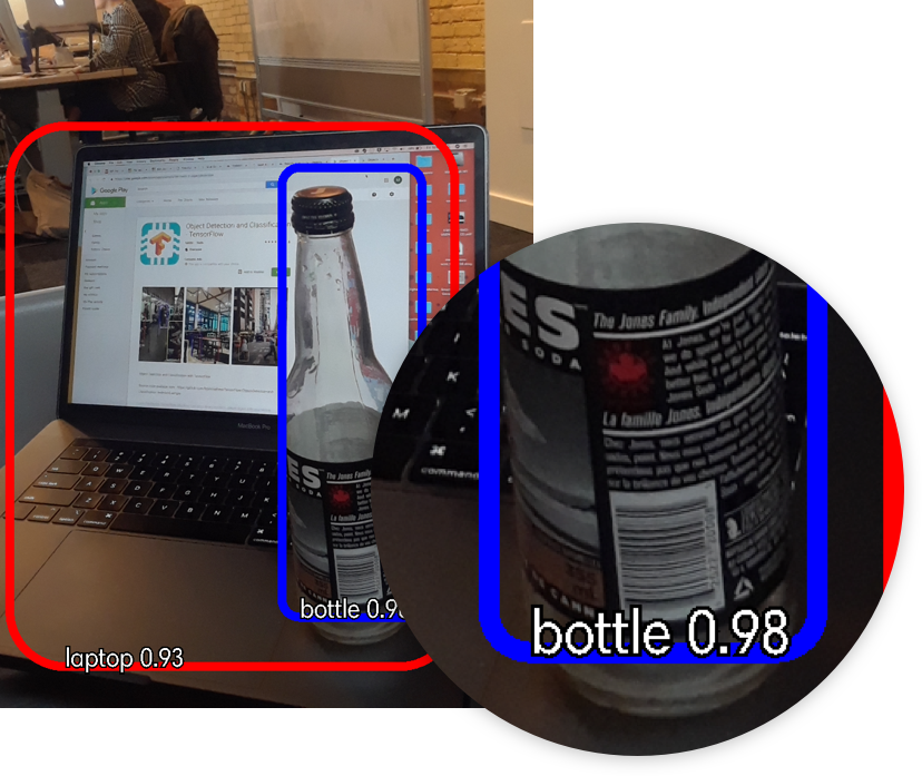Example of image recognition accuracy metrics (.93 and .98 on the images displayed of a laptop and a bottle respectively) to give users a sense of how closely the results match the system's parameters