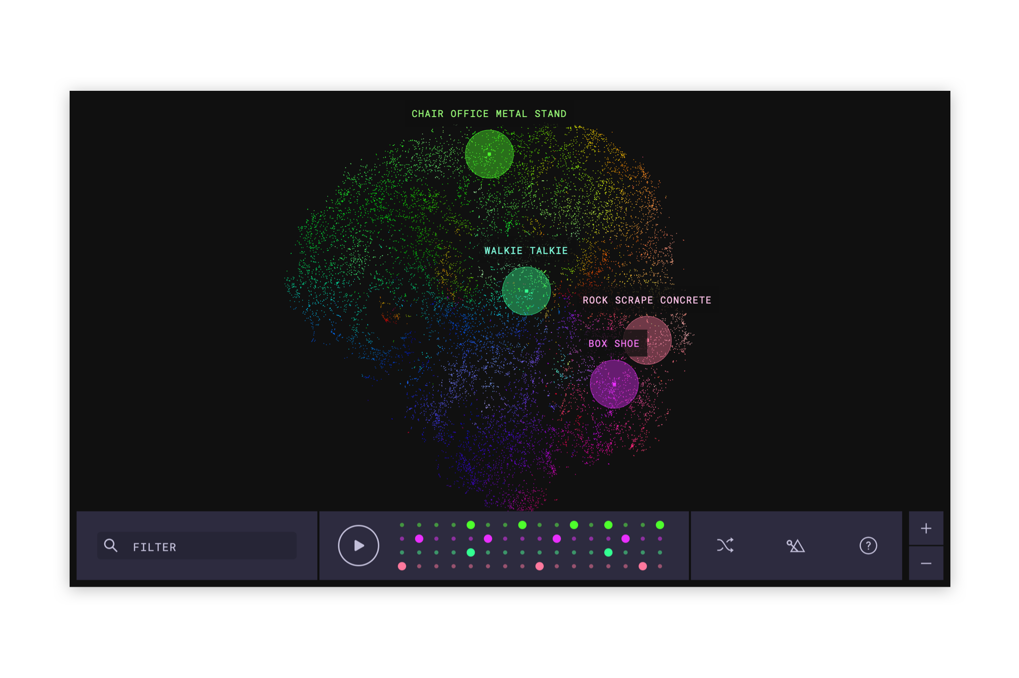 "A screenshot of the ""Infinite Drum Machine"" app showing datapoints clustered by similarity."
