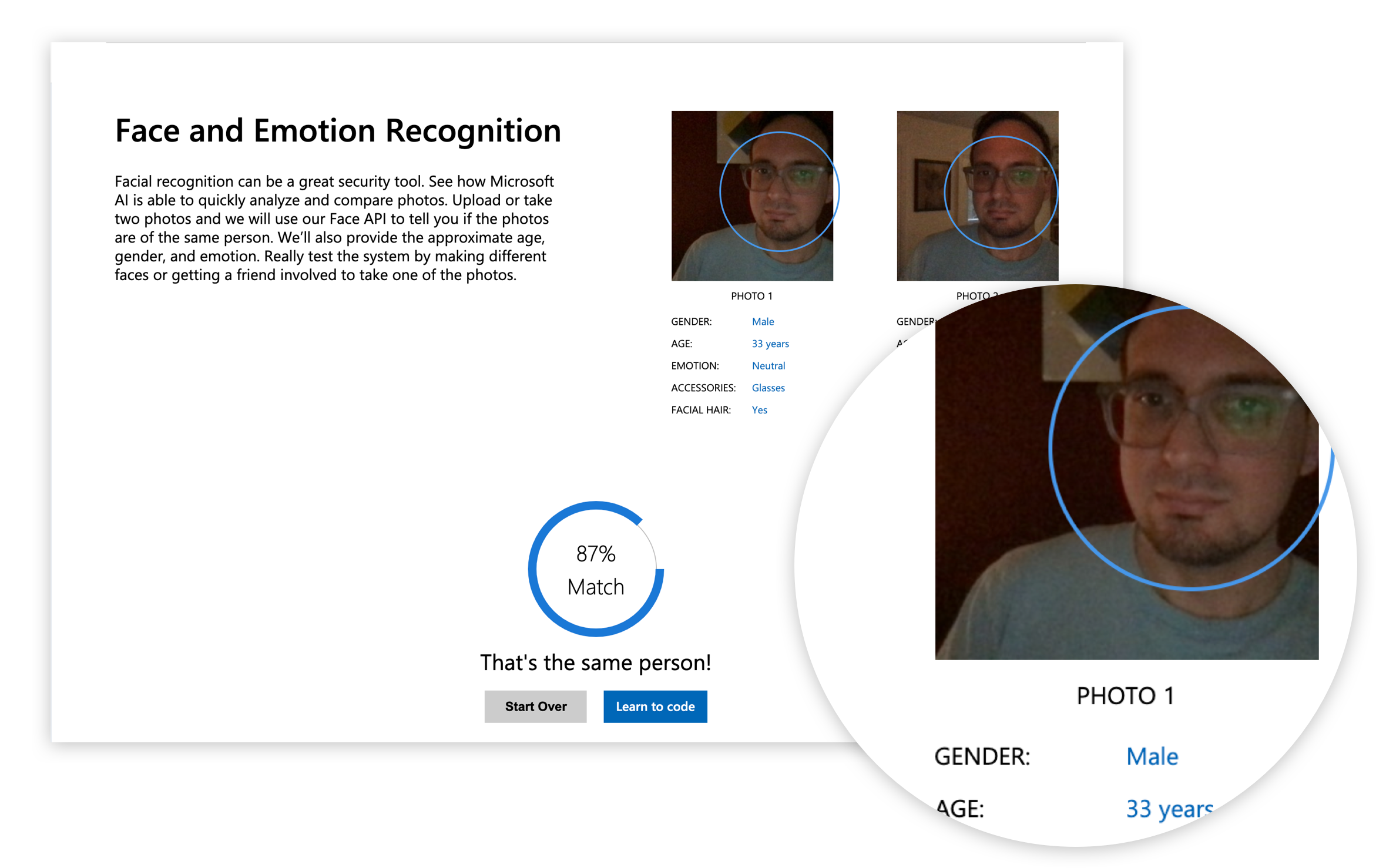 A screenshot of a facial recognition demo by Microsoft that predicts the user's gender.