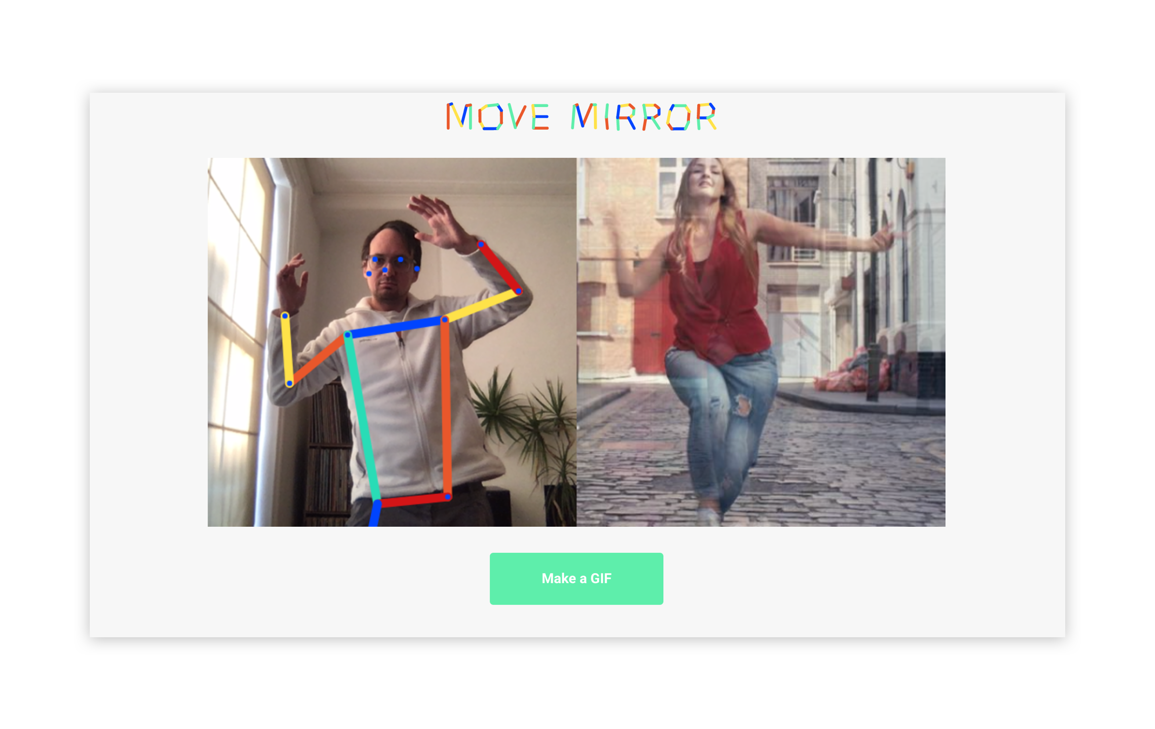 A screenshot from MoveMirror showing how the user's body is converted to datapoints.